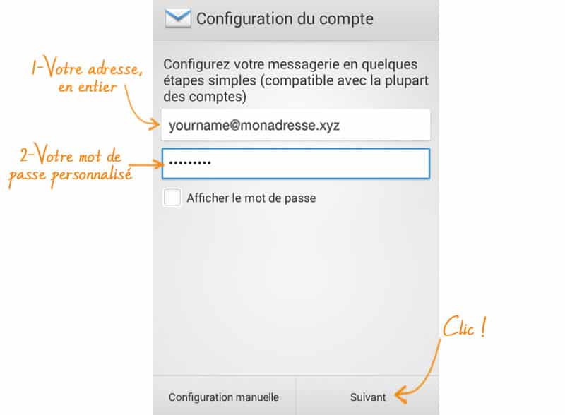son adresse mail sur Android