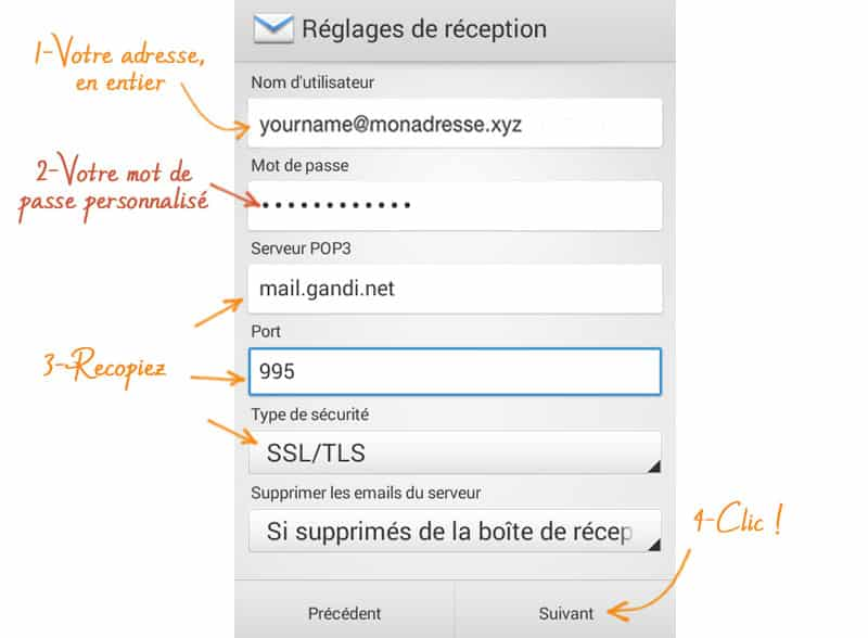 Installer son mail sur android