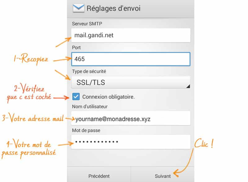 Comment mettre son email sur android