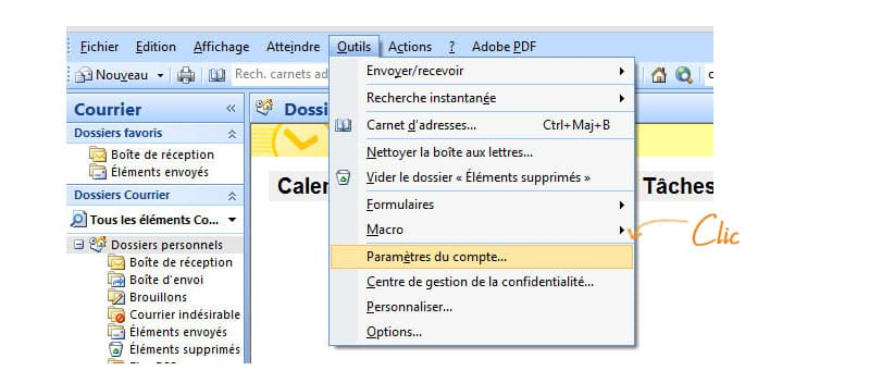 Emails sur Outlook