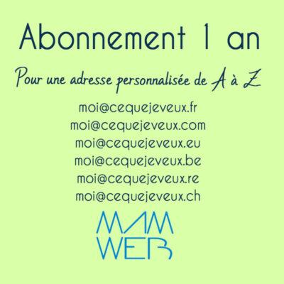 1 an d'abonnement pour les emails personnalisés de A à Z .fr .eu .com .be .pro .re .ch